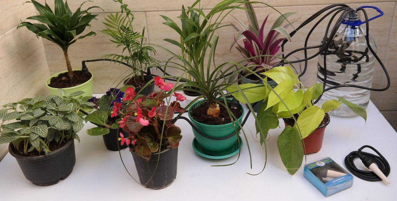 مینی آب بانک آبیاری هوشمند گلدان ها آبیاری چند گلدان با یک بطری آب و مینی آب بانک مدل AB200