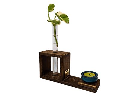 گلدان چوبی رومیزی تک شاخه آیریس