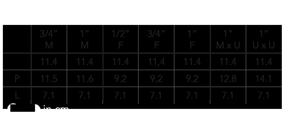 جدول اندازه شیر برقی Rain مدل RN150